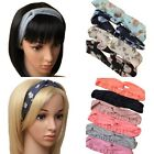 Womens Yoga Twisted Knotted Turban Elastic Hair Band Headband - Floral or Solid