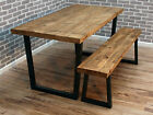 Lewis U frame Industrial Reclaimed Sawn Wood Dining Table 180 x 80 cm 8 seater