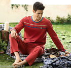 Red Fall Sports Leisure Cotton 2PCs Men's Long Sleeves Home Clothes L/XL/2XL/3XL