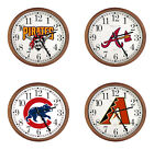MLB TEAM THEME LOGO 15 ROUND WALL CLOCK CAPPUCCINO ESPRESSO FINISH FRAME