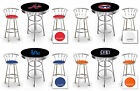 furniture for man cave - MLB THEMED LOGO BLACK AND CHROME BAR TABLE SET FOR MAN CAVE, PUB OR GAME ROOM