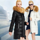 New Women's Casual Raccoon fur collar Winter Long Coat Parka Down Jacket
