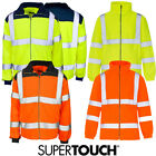 Hi Vis Viz Visibility Fleece Jacket Rain Patch Zip Safety Work Mens Warm Top