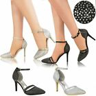 Womens Ladies Bridal Wedding Shoes Prom Diamante Party High Heel Sandals Size