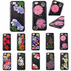 For iPhone 6/7/Plus Black Case Dried Flowers Pressed With Anti Dust Plug Cover