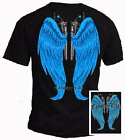 Country Life Outfitters Wings Guns Vintage Black Blue Bright Girlie T Shirt