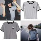 Fashion Women Short Sleeve Crop Tops Alien Print Tee Blouse Casual T-shirt
