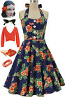 50s Style Miss Mabel NAVY PINEAPPLE HIBISCUS Pinup HALTER SunDress with BUTTONS