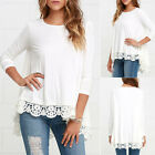 2017 Womens Loose Cotton* Long Sleeve Blouse Casual Short Lace Girls Shirt Tops