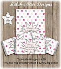 PINK SILVER DK PINK POLKA DOTS PARTY PERSONALISED CHOCOLATE WRAPPERS X 10