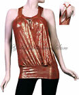 TUNIC LENGTH HALTER TOP, RED WITH GOLD AND OPEN LOW BACK, Medium and Small