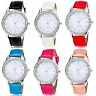 Women Ladies Rhinestone Leather Crystal Dial Quartz Bracelet Bangle Wrist Watch