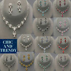 """STUNNING CLASSIC CRYSTAL PROM WEDDING FORMAL NECKLACE JEWELRY SET """"CHIC TRENDY"""""""