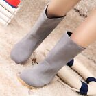 Women Suede Artificial Plush Round Toe Pull On Mid-calf Flat Casual Pretty Boots