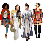 Womens Long Sleeve Traditional African Print Dashiki Jacket Lot Outwear Coat New