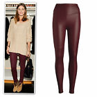 Marroon red wine high waist leather look stretchy leggings