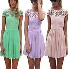 US Women's Lace Floral Short Sleeve Cocktail Evening Party Casual Mini Dress New