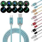 2A Light-up Rainbow Change LED Type C USB-C Date Sync Quick Charger Cable Lot