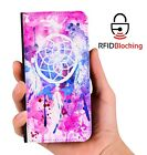 RFID Protected Dreamcatcher Watercolor PU Leather Phone Wallet Case Cover Galaxy