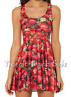 Strawberry Fruit Summer Red Cosplay Digital Print Skater Short Dress