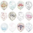 "6 12"" Clear Confetti Filled Balloons Birthday Party Wedding Decorations Girl Boy"
