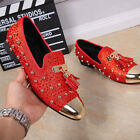 Mens Tassel Beads Loafers Leisure Rock Leather Oxfords Shoes Metal Toe Wedding