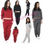 Womens Ladies Distressed ripped Hoodie Crop Top Bottoms 2 piece Lounge Wear Set
