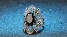 Vintage Women Black Crystal Flower Engagement Wedding Band Silver Plated Ring