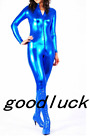 Zentai Suit Metallic Jumpsuit Catsuit Bodysuit Unitard Dance Club Costume Zipped