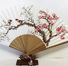 """Korean Art Hand fan """" Apricot tree """" Traditional Collapsible 50cm 11.4"""" x 19.6"""""""