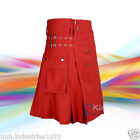 New Men Scottish Red Color Fashionable Utility Kilt For Men's 100% Cotton