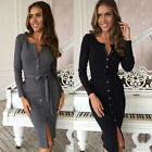 Womens Long Sleeve Dresses Short Slim Work Club New Bodycon Cocktail Party Dress