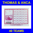 100 Charity Fundraising Football Scratch Cards 20, 30, 40, 60 or 80 Teams