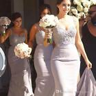 STOCK Long New Mermaid Bridesmaid Dress Lace Evening Party Ball Prom Dress 6-20+