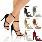 Womens Ladies Barely There High Heel Ankle Strappy Buckle Party Sandals Size New