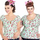 Hell Bunny April Top Cherry Print Rockabilly Pin Up Vintage Retro Cute 50s