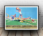 Great Yarmouth , Vintage Railway travel advertising Poster reproduction.