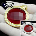 925 STERLING SILVER ICED HIP HOP SILVER/GOLD SMALL/BIG ROUND RUBY PENDANT*SP98