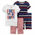 New Carters Baby Girls 4-Piece Snug Fit Cotton PJs Free to Be Happy Pick Size