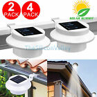 2/4 Pcs Solar-Powered Automatic LED Mounted Gutter Night Light Roof Outdoor Yard