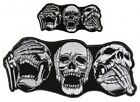 """3 SKULLS HEARD SAW SAID NOTHING 4.5"""" or 9.25"""" iron on patch (5096) Biker Patch"""