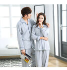 Grey Blend Cotton 2PCs Long Sleeves Lovers' Home Wear Pajama Sets M/L/XL/2XL/3XL