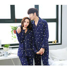Combed Cotton 2PCs Blue Long Sleeves Pajama Sets Pockets Lapel Collar Edge Sewed