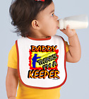Rabbit Skins Infant Cotton Snap Bib Daddy Thinks I'm A Keeper