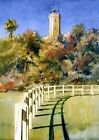 St. Johns Mayport Lighthouse FL. Tropical Portrait. James Mann Watercolor Prints