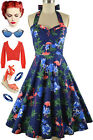 50sStyle PLUSSZ Eleanor Paige PINUP Blue FLAMINGOS HIBISCUS Print HALTER Dress