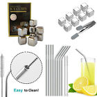Reusable Stainless Steel Drink Straws & Whiskey Chilling Rocks Set For Party
