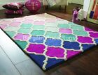 Funky Rosella Pink Blue Purple 100% Wool Soft  Rug in various sizes