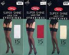 SILKY SHINY LACE TOP STOCKINGS IN VARIOUS SHADES