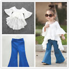 New Cute Kids Baby Girls Outfits Cotton tops,Denim Flared pants Clothes Sets 2pc